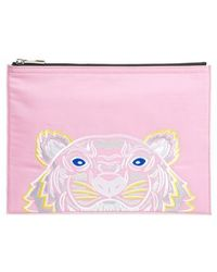 KENZO - Kanvas Tiger Embroidered A4 Pouch - Lyst