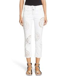 Isabel Marant - Broderie Anglaise Crop Skinny Jeans - Lyst