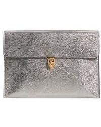 Alexander McQueen - Metallic Leather Envelope Clutch - - Lyst