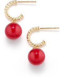 David Yurman - Solari Hoop Earrings With 18k Gold And Red Enamel - Lyst