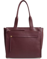Nordstrom - Finn Pebbled Leather Tote - Burgundy - Lyst