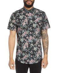 Calibrate - Trim Fit Floral Short Sleeve Sport Shirt - Lyst