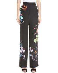 Etro - Largo Floral Print Silk Pants - Lyst