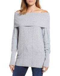 Chaus - Off The Shoulder Chevron Cotton Sweater - Lyst