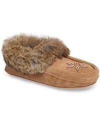 Manitobah Mukluks - 'kanada' Genuine Rabbit Fur & Suede Moccasin Slipper - Lyst