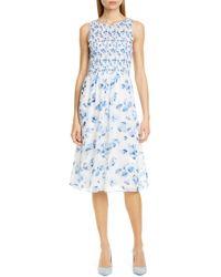 81865323b438 Club Monaco Kittrick Floral-print Silk Midi Dress - Lyst