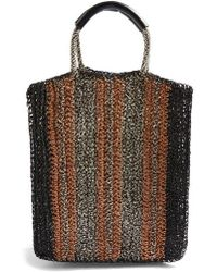 TOPSHOP - Bath Stripe Straw Tote Bag - Lyst