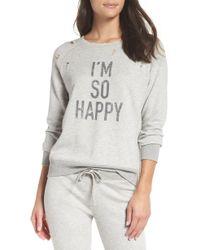 David Lerner - I'm So Happy Distressed Sweatshirt - Lyst