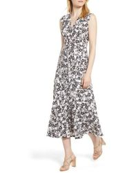 Anne Klein - Pieced Floral Midi Dress - Lyst