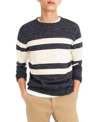 J.Crew - J.crew Multistripe Cotton & Linen Blend Crewneck Sweater - Lyst