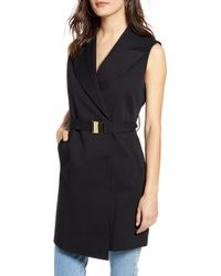 TOPSHOP Belted Sleeveless Blazer Dress