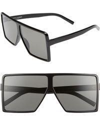 Saint Laurent - Betty 63mm Oversize Shield Sunglasses - - Lyst