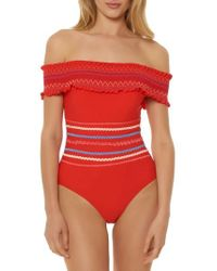 Red Carter - Smocked Off The Shoulder Swimsuit - Lyst