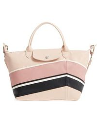 Longchamp   Small Le Pliage Cuir - Chevron Leather Tote   Lyst