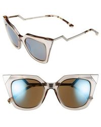 Fendi - 52mm Cat Eye Sunglasses - Dove Grey - Lyst