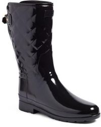 HUNTER - Refined High Gloss Quilted Short Rain Boot - Lyst