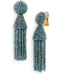 Oscar de la Renta - Short Beaded Tassel Clip Earrings - Lyst
