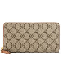 349969bb8 Gucci Nice Gg Supreme Canvas Zip Around Wallet in Natural - Lyst