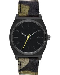 Nixon - Time Teller Leather/canvas Strap Watch 37mm - Lyst