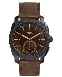 Fossil - Machine Leather Strap Hybrid Smart Watch - Lyst
