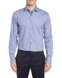 Calibrate - Trim Fit Stretch Non-iron Check Dress Shirt - Lyst