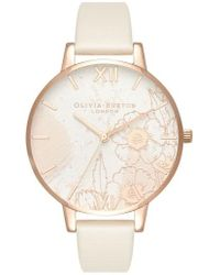 Olivia Burton - Abstract Floral Faux Leather Strap Watch - Lyst