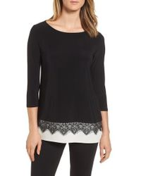 Chaus - Lace Trim Knit Top - Lyst
