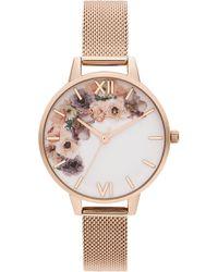 Olivia Burton - Watercolour Florals Mesh Strap Watch - Lyst