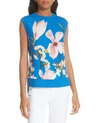 Ted Baker - Harmony Floral Mix Media Sleeveless Sweater - Lyst