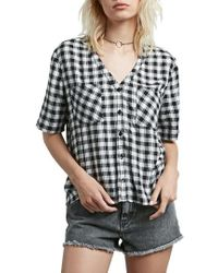 Volcom - Pick It Up Gingham Top - Lyst