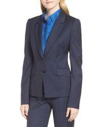 BOSS - Jakinala Dark Blue Wool Melange Jacket - Lyst