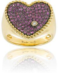 Yvonne Léon - Pink 18k Gold Diamond And Sapphire Heart Ring - Lyst
