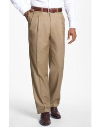 Santorelli - 'luxury Serge' Double Pleated Wool Trousers - Lyst