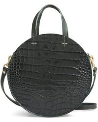 Clare V. - Petit Alistair Croc Embossed Leather Circular Crossbody Bag - Lyst