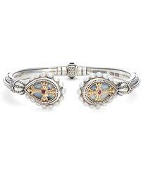 Konstantino - Etched Sterling Pearl & Ruby Hinged Bracelet - Lyst