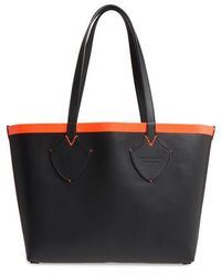 Burberry - Medium Reversible Leather & Check Canvas Tote - - Lyst