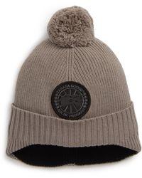 Canada Goose Disc Merino Wool Toque Pom Hat - Gray