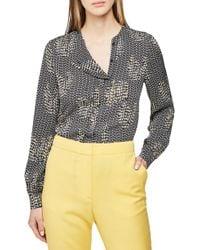 Reiss - Celeste Collarless Patterned Long Sleeve Blouse - Lyst