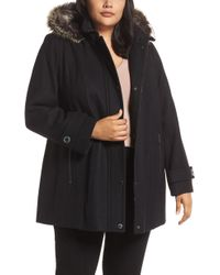 London Fog - Hooded Wool Blend Coat With Faux Fur Trim - Lyst