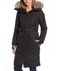 Nobis | Long Belted Down Parka With Genuine Coyote Fur Trim | Lyst