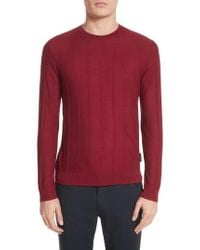 Emporio Armani - Slim Fit Wool Crewneck Sweater - Lyst