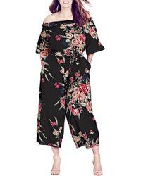 City Chic - Misty Floral Jumpsuit - Lyst