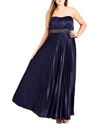City Chic - Helena Embellished Strapless Maxi Dress - Lyst