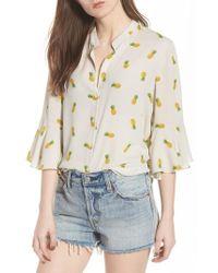 Lush - Print Bell Sleeve Shirt - Lyst