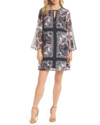 Vince Camuto - Bell Sleeve Floral Chiffon Shift Dress - Lyst