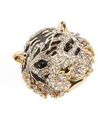 Cara - Crystal Tiger Ring - Lyst