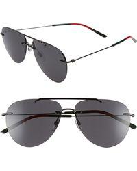 ca4e6c6eae9 Gucci - 60mm Rimless Aviator Sunglasses - Ruthenium - Lyst