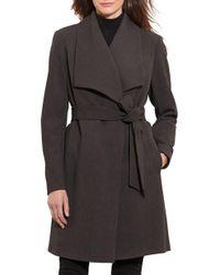 Lauren by Ralph Lauren - Belted Drape Front Coat - Lyst