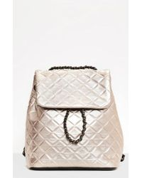 Missguided - Quilted Faux Leather Backpack - Metallic - Lyst