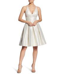 Dress the Population - Collette Plunge Neck Fit & Flare Dress - Lyst